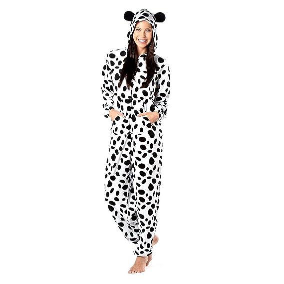 b14fcad57 Ladies Selena Secrets Soft Fleece Hooded Dog or Cow Print Onesie ...