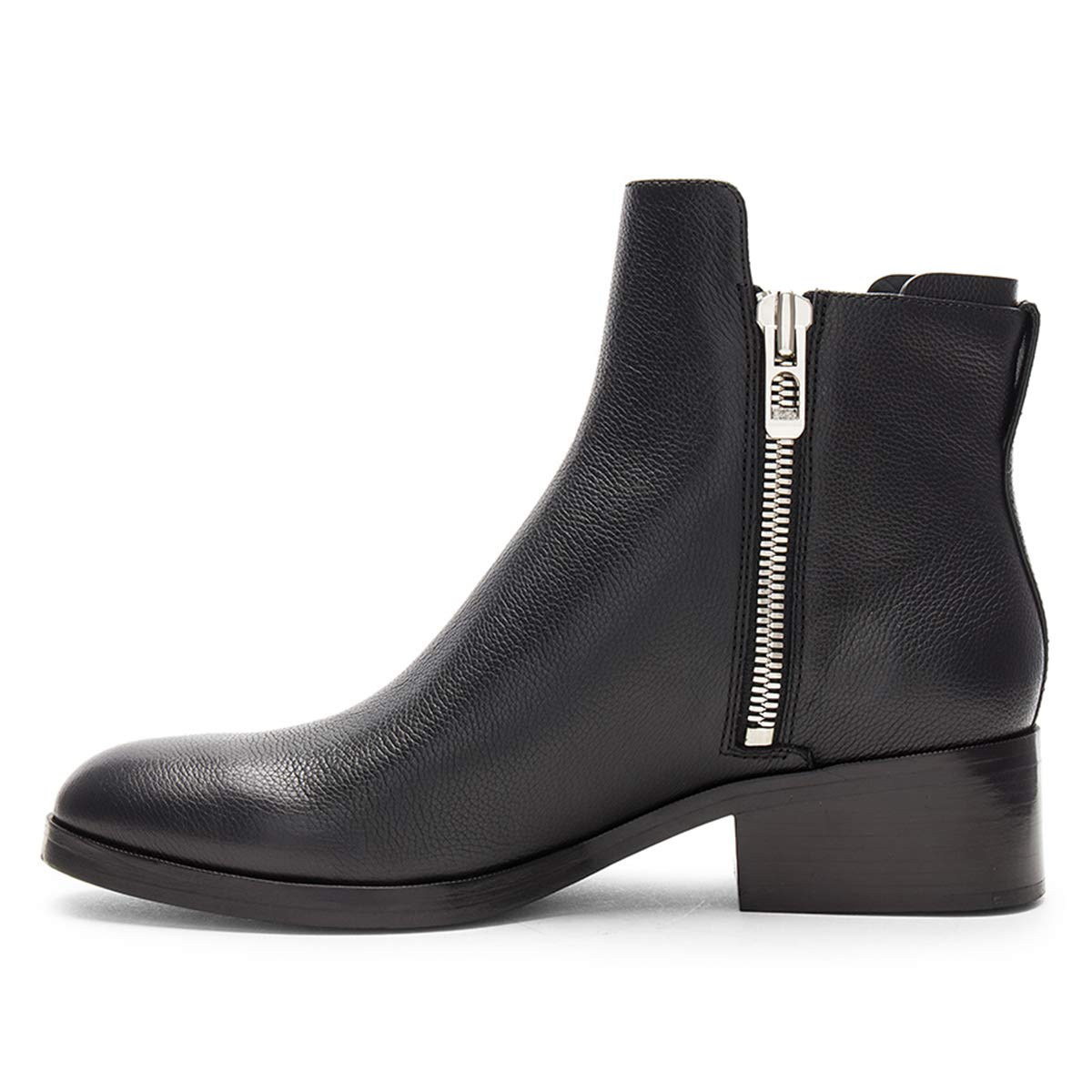 YDN Women Western Low Heel Combat Ankle Boots Round Toe Booties Shoes with Side Zips
