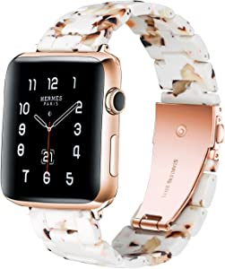 HomGoodz Resin Wristbands Compatible with Apple Watch Bands 38mm Women Series 3 Classy Bracelet Strap Girly Dressy Replacement for Apple Watch Band 40mm Series 6 5 4 3 2 1 SE Nougat White