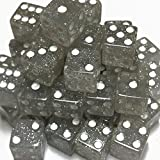 100 Glitter Silver Dice with White Spots - 16mm