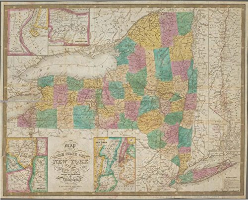 Historic 1833 Map   Map of the state of New York : compiled from the latest authorit   Antique Vintage Map Reproduction