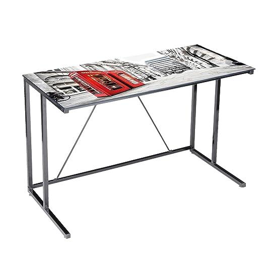 Mesa escritorio de cristal Londres 120cm: Amazon.es: Hogar