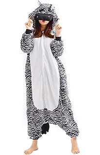 0cd363e04041a Kigurumi Onesie Pyjama Combinaison Animal Adulte Unisexe Cosplay Halloween  Costume Zèbre
