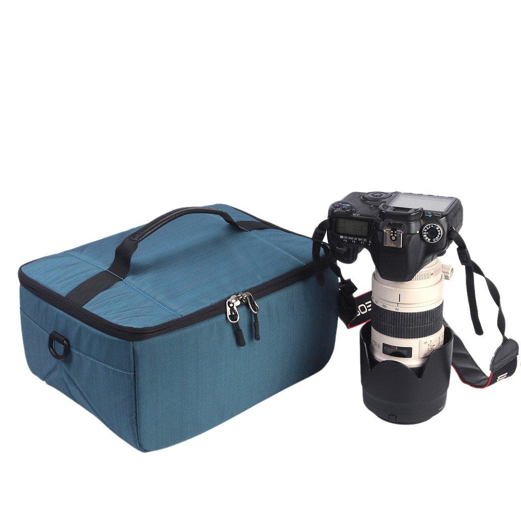 YuHan Waterproof Anti-shock SLR/ DSLR Case Large Capacity Camera Bag Professional Lens Organizer Travel Shoulder Bag with Inner Padding for Canon Nikon Sony Nikon Olympus Samsung Blue