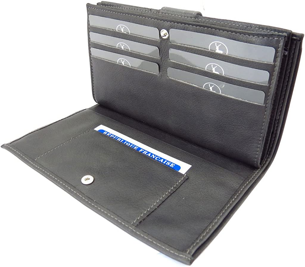 Wallet checkbook holder leather Frandi gray charcoal grey.