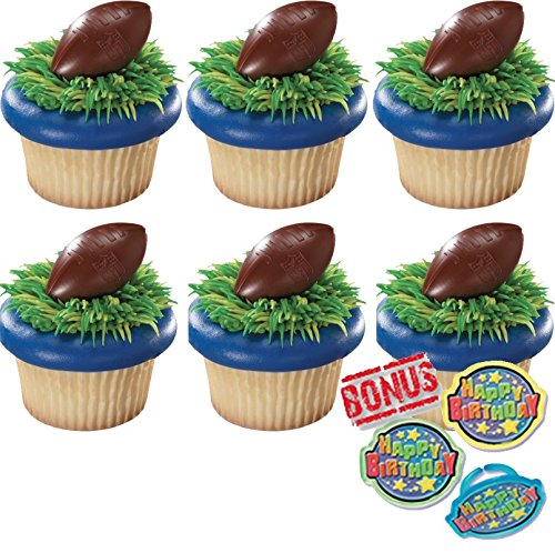 - NFL Brown Football with Shield Cupcake Toppers and Bonus Birthday Ring - 25 piece