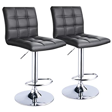 Modern Square Leather Adjustable Bar Stools with Back Set of 2 Counter Height Swivel  sc 1 st  Amazon.com & Amazon.com: Modern Square Leather Adjustable Bar Stools with Back ... islam-shia.org