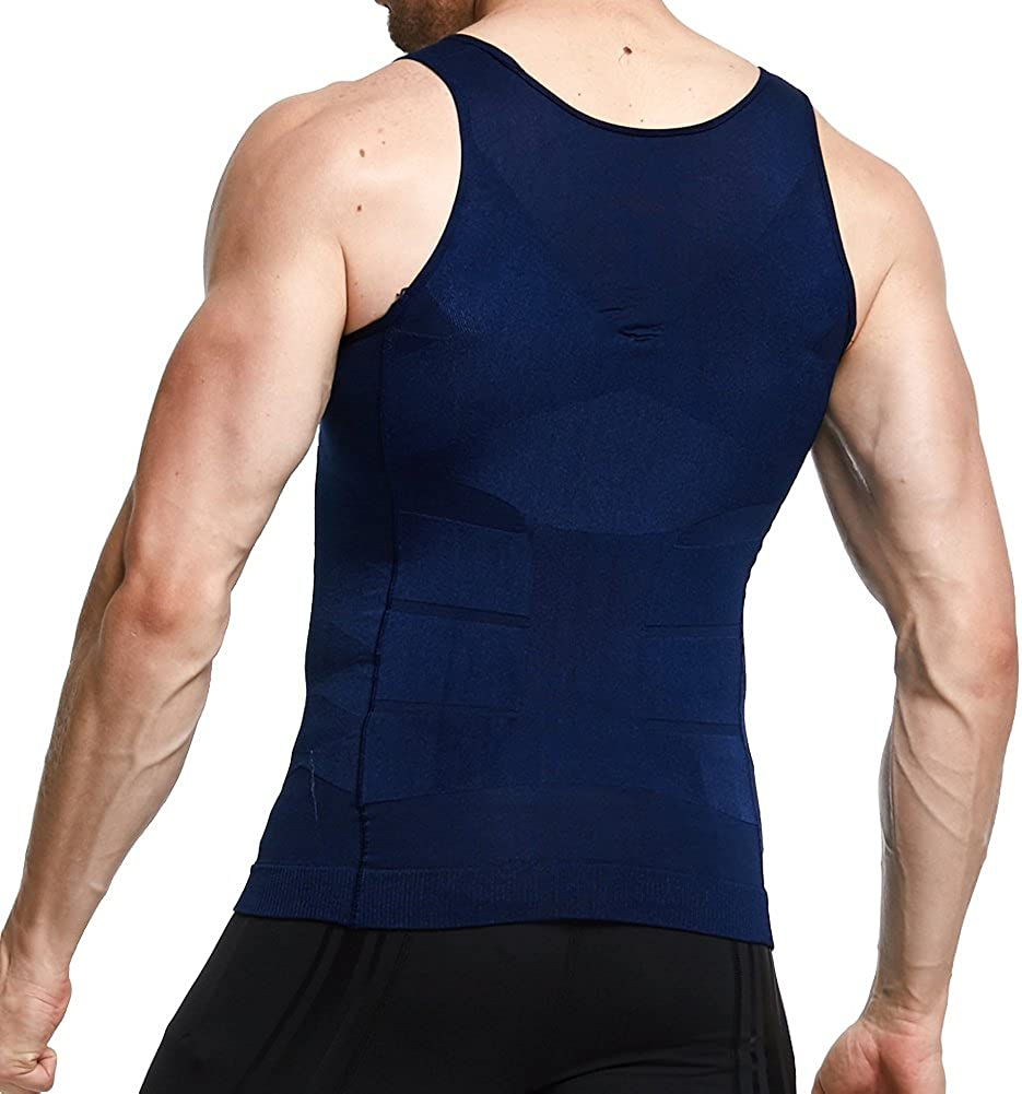 Mens Slimming Shirt Body Shaper Vest Abs Abdomen Slim