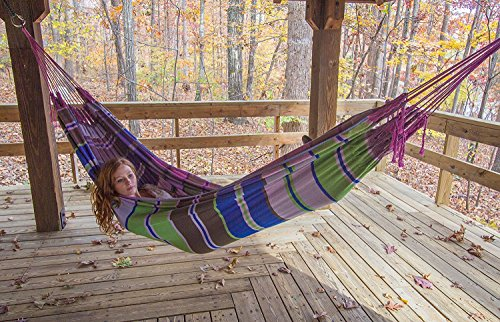 FMS Extra Large Brazilian Mayan Hammock Portable Single or Double Hammock Handmade with 100 Soft Cotton Tropical Multicolor by Ravenox