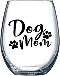 Dog Mom Gifts for Women - 15oz Stemless Wine Glass Tumbler Cup Gift - Best Birthday or Christmas Presents for Puppy Lovers, Owners, Fur Mamas, Wife, Mother, Sister, Friend, Foster, Rescue, Adoption