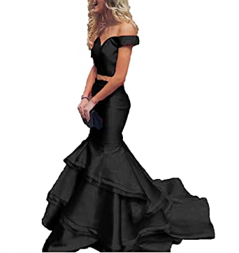 Bonnie_Shop Bonnie Off The Shoulder Satin Prom Dresses 2018 Long Two Piece Sexy Mermaid Ruffled Formal