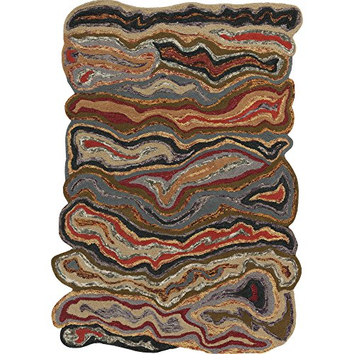(Surya Gypsy GYP-202 Contemporary Hand Tufted 100% Wool Dark Olive Green 2' x 3' Abstract Accent)