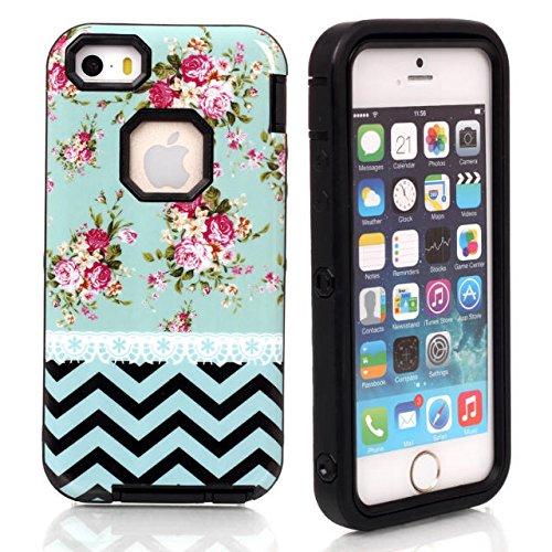 iPhone 5/5s Fall Lantier Romantic Rose mit blauen Wellen Hard Case & 3 in 1 Hybrid-Rüstungs-Kasten High Impact-harte Abdeckung Silikon-Kasten-Blumen-Art-Abdeckung für iPhone 5/5s Schwarz