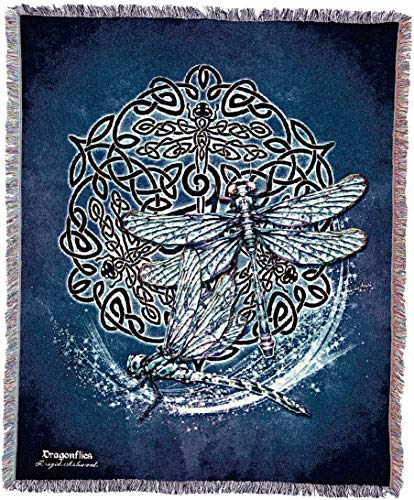 Pure Country Weavers Celtic Dragonfly Blanket and Woven Wall Hanging Tapestry with Fringe 60x50 Cotton USA