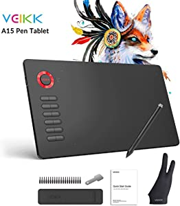 Graphics Drawing Tablet VEIKK A15 10x6 inch Digital Pen Tablet with Battery-Free Passive Stylus and 12 Shortcut Keys
