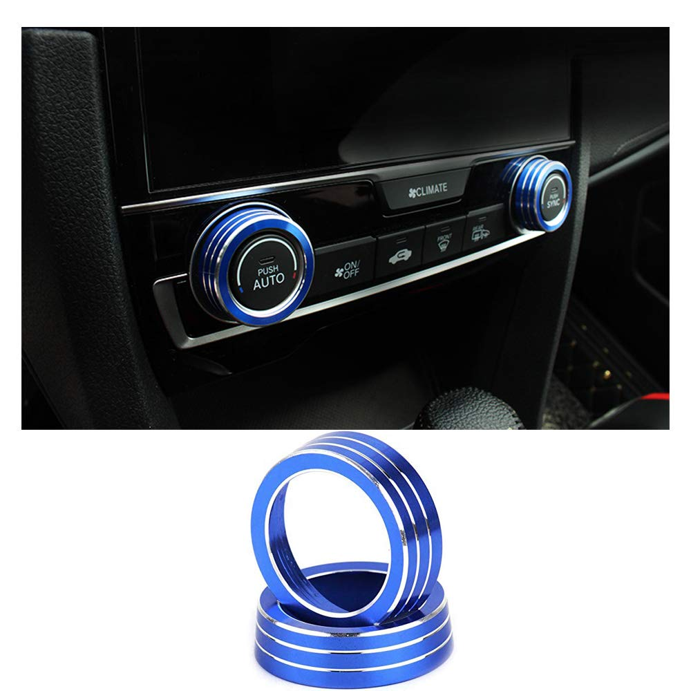 JOIN-WIT Air Condition Knob Cover Trims AC Control Switch Button Ring for Honda Civic 10th Gen 2016 2017 2018 (Blue) JOIN-WIT11