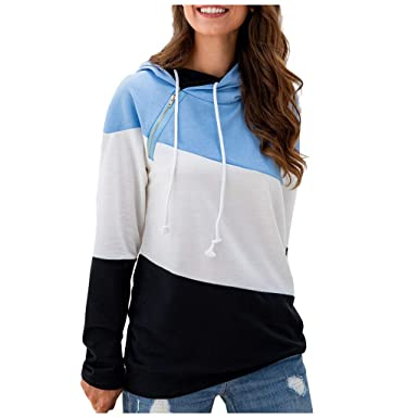 Bravetoshop Womens Solid Color Lightweight Pullover Tops Long Sleeve Hooded Sweatshirts