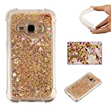 Galaxy J7 2015 Liquid Case,Galaxy J7 2015 Floating Case,Leeook Luxury Beauty Bling Shiny Sparkle Glitter Cover Gold Love Heart Quicksand Flowing Creative Design Crystal Transparent Clear Plastic Soft TPU Protective Shock Proof Shell Case Cover Bumper for Samsung Galaxy J7 2015 + 1 x Free Black Stylus
