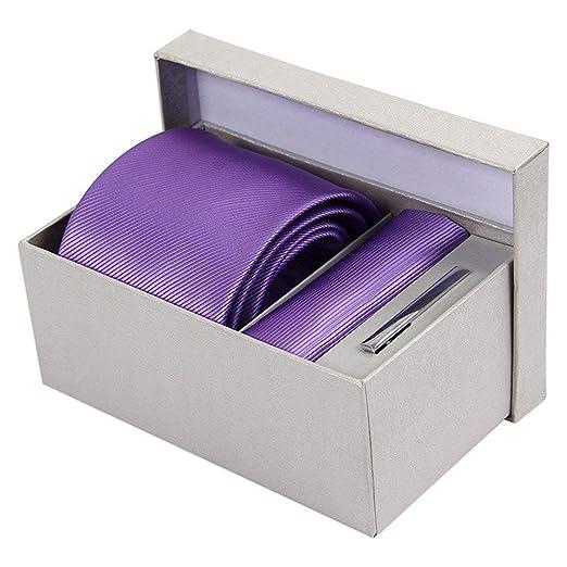 BAIJJ 8cm Violeta púrpura Rayas Conjunto sólido Corbata Bolsillo ...