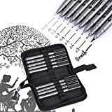 Black Micro-Line Pens, 9pcs Different Tips Water Based Pen Brush Archival Ink Micro Pens for Beginners Writing, Signature, Illustration, Design, Drawing with Pen Bag