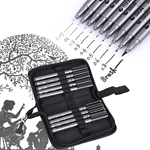 Black Micro-Line Pens, 9pcs Different Tips Water Based Pen Brush Archival Ink Micro Pens for Beginners Writing, Signature, Illustration, Design, Drawing with Pen Bag ()