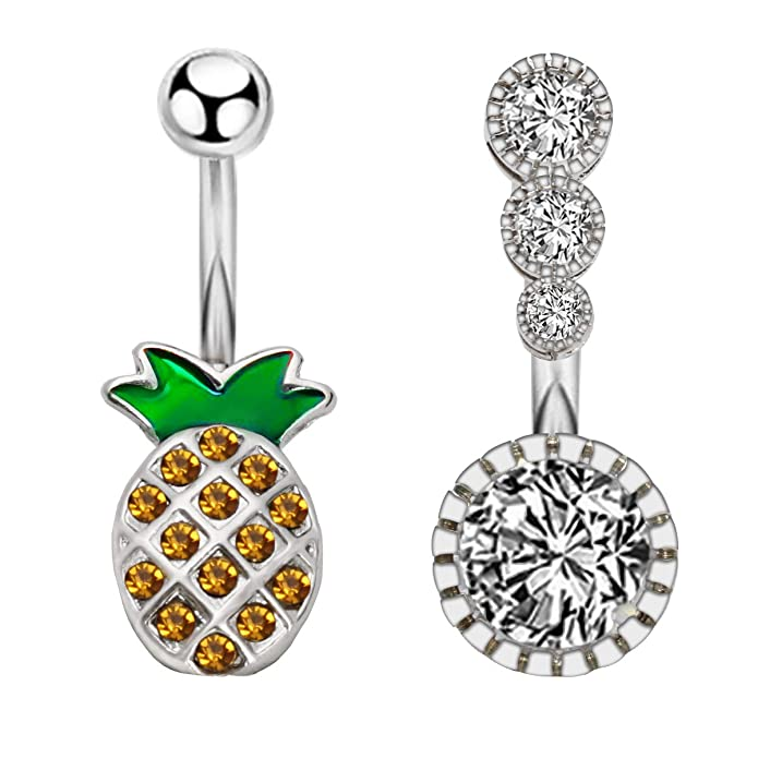 Fancy Frog 925 Sterling Silver with Stainless Steel Belly Button Navel Rings