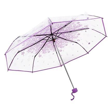 Vi.yo Paraguas plegable para lluvia, diseño romántico de cereza, forma de cúpula
