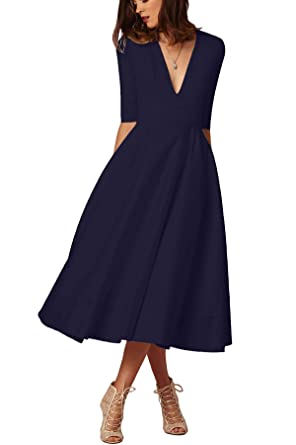 e42870f7524b ONine Women's Elegant Swing Dress Deep V Neck Half Sleeve Cocktail Maxi  Dress Vintage Pleated Flare Midi Dress at Amazon Women's Clothing store: