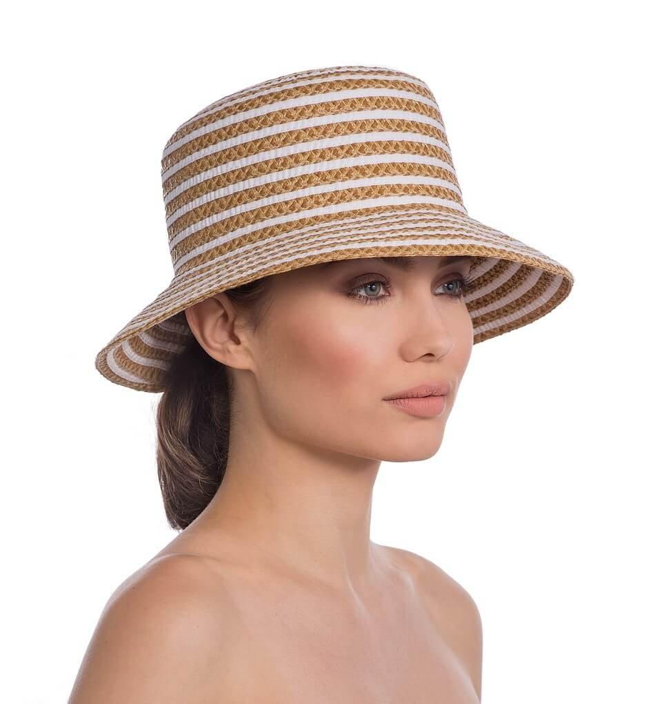 Eric Javits Luxury Fashion Designer Women's Headwear Hat - Braid Dame - White Mix by Eric Javits