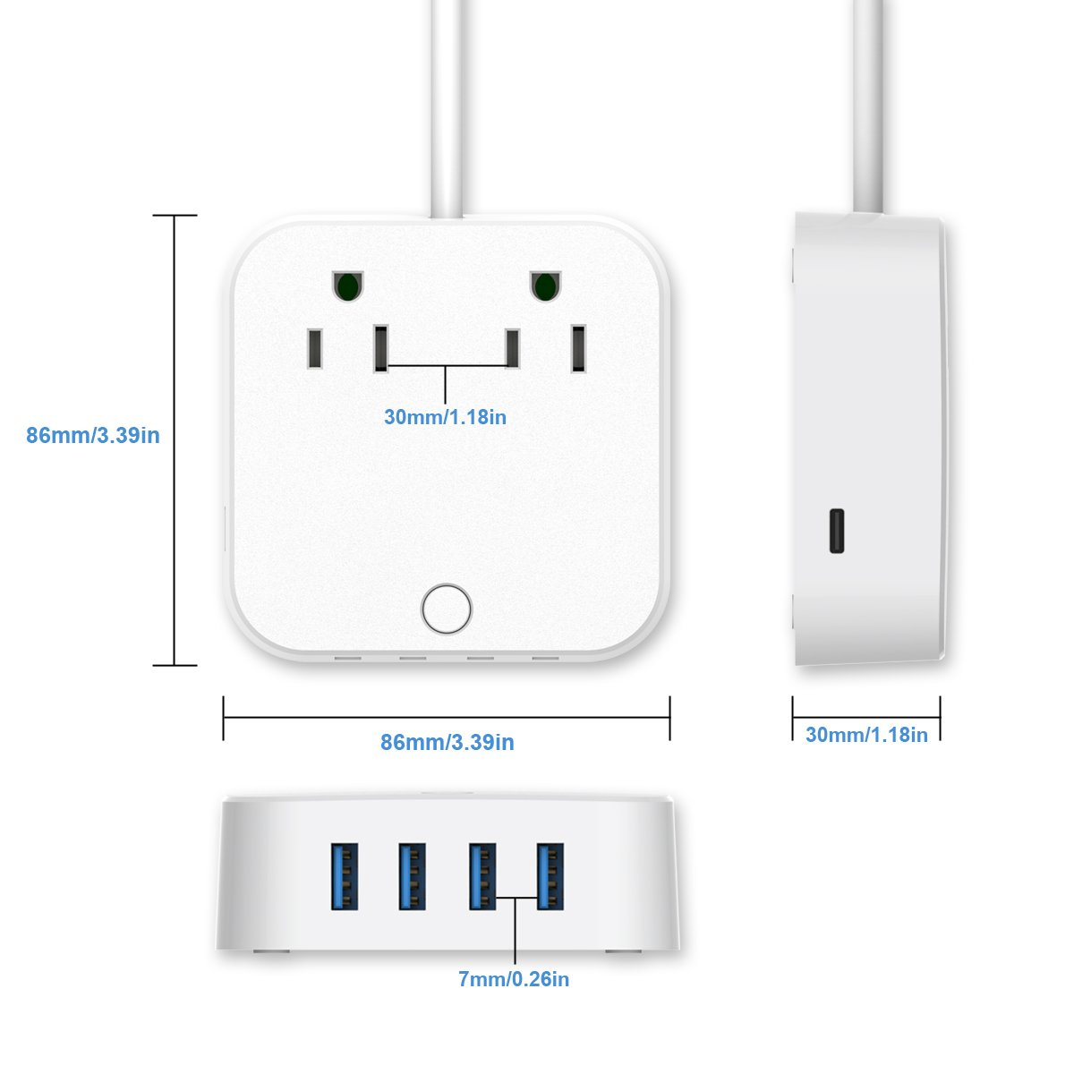 ❤ USB Extension Cord - Surge Protector Power Strip, Type-C Charging Port (5V/3A) & 4 USB Ports (5V/2.4A), Portable Travel Charger Station for iPhone iPad Samsung & Tablets, USB C Not for Laptops by HITRENDS (Image #5)