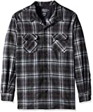 Pendleton Men's Big & Tall Long Sleeve Board Shirt, Grey/Black Plaid, LG