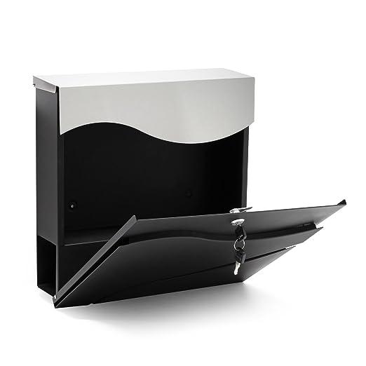 Buzón correos diseño moderno V27 Negro Bandeja soporte periódico Cartas Correspondencia Postal: Amazon.es: Bricolaje y herramientas