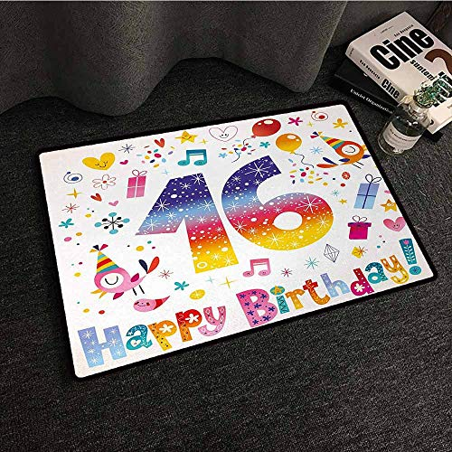 Kitchen Doormat 16th Birthday,Cute Sweet Teenage Celebration Motif Hearts Balloon Bird Box Stars Design,Multicolor,W35 xL47 Bedroom Rugs