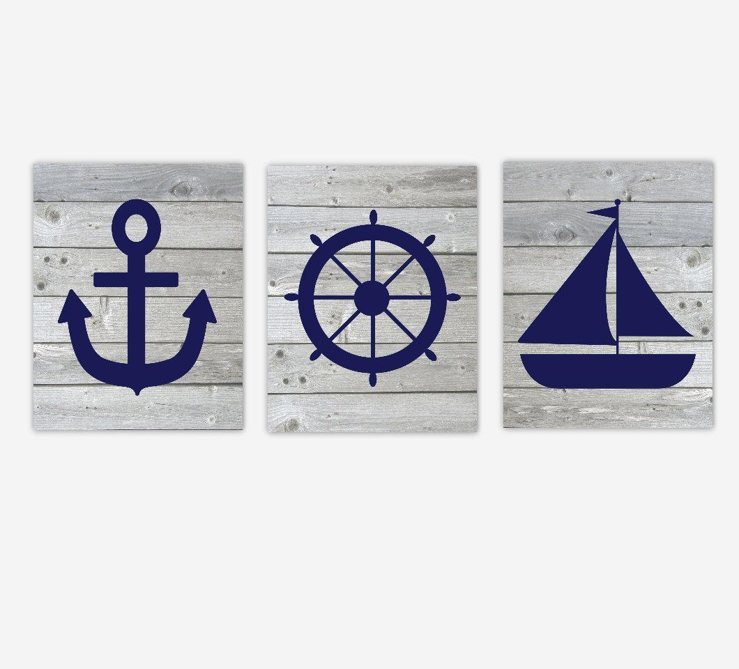 Nautical Wall Art Navy Blue Rustic Anchor Wheel Sailboat Baby Toddler Boy Nursery Bedroom Bath Prints SET OF 3 UNFRAMED PRINTS