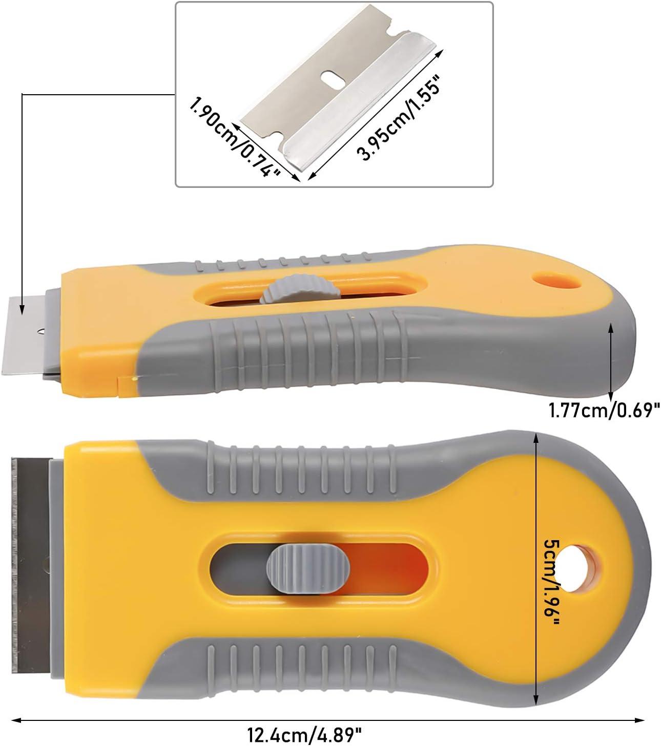 3 Pieces Retractable Razor Blade Scraper Holder with 60 pc Extra Razor Blades Mini Plastic Scraper Labels Decals Sticker Removal Scraper Tool for Window Glass Paint Cleaning