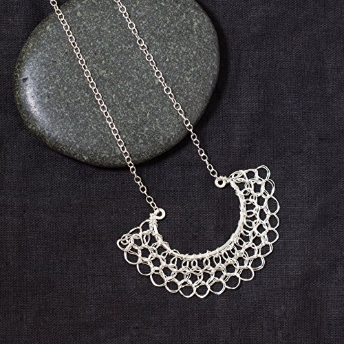 Handmade Half Circle Filigree Pendant Necklace in Sterling Silver Woven Wire Crochet Jewelry