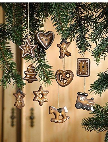 Deko Hänger Weihnachten Lebkuchen Deko aus Terracotta 10er Set