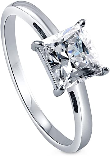 BERRICLE Sterling Silver Princess CZ Solitaire Promise Engagement Ring 1.59 CTW