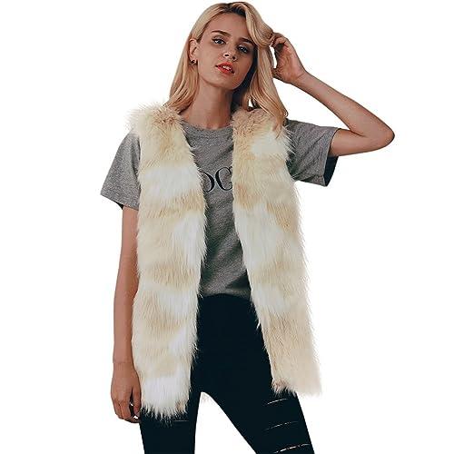 iBaste Chaleco Piel Mujer Amarillo y Blanco Mezclado Color Abrigo Casual Sin Manga Vest