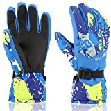 Ski Gloves,RunRRIn Winter Warmest Waterproof and Breathable Snow Gloves for Mens,Womens,ladies and Kids Skiing,Snowboarding(Blue-Yellow-L)