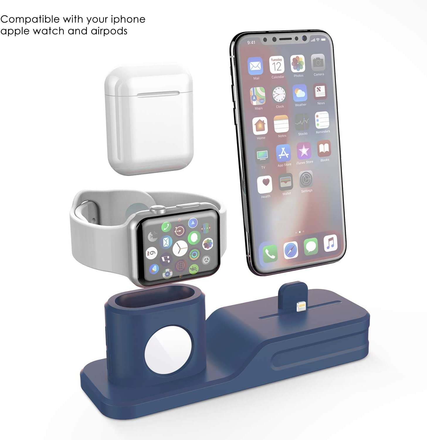 AirPods and iPhone 11 Pro Max XS Max XS XR X 8 7 6 Plus Upgraded 3 in 1 Charging Dock Station Universal Desktop Stand Holder Compatible Apple Watch Black Charging Stand for Apple