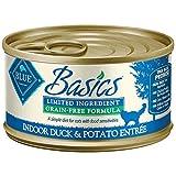 Blue Basics Limited Ingredient Diet Adult Indoor Grain Free Duck & Potato Wet Cat Food 3-Oz (Pack Of 24)