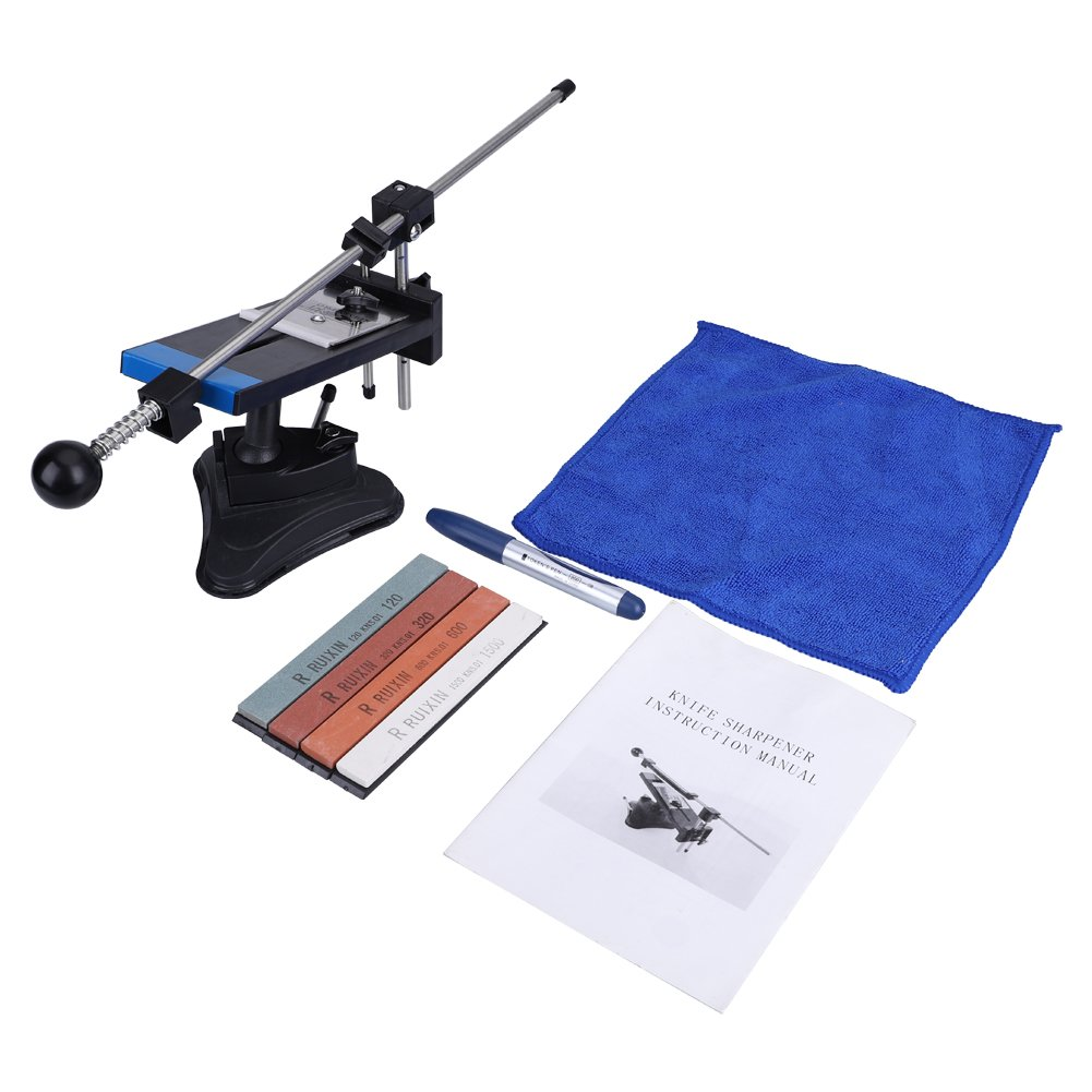 Professional 2nd Vesion All Metal Steel Fix-Angle Chef Sharpening System with 4 Whetstones Hilitand