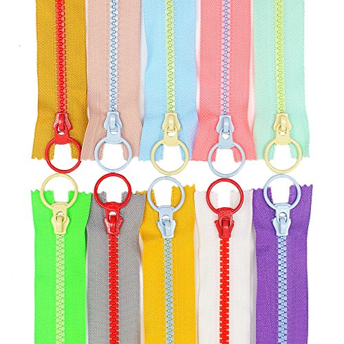 YaHoGa 20PCS 10 inch (25CM) 5# Plastic Resin Zippers with Lifting Ring Pull Close End Vislon Zippers for DIY Sewing Craft Bags Garment (10