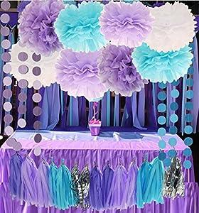 Mermaid Under The Sea Decorations Purple Baby Blue Baby Shower Tissue Paper  Pom Pom Paper Tassel Garland First Birthday Decorations Purple Bridal Shower  ...