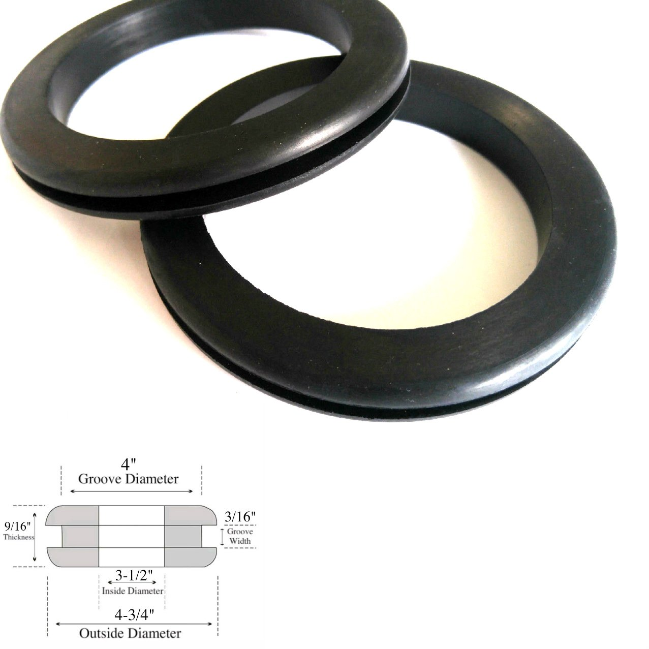 Set of 2 Very Large Rubber Grommets 3-1/2'' Inside Diameter- Fits 4'' Panel Holes