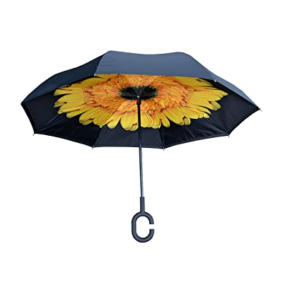 Nufoot Topsy Turvy Inverted umbrella, Black/Sunflowers: Sports & Outdoors