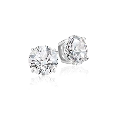 69f69b6e6 Amazon.com: Lusoro 925 Sterling Silver Round Cut AAA Cubic Zirconia Stud  Earrings - 1/2 Carat Total Weight CZ: Jewelry
