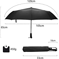 JOYOOO10 10 Ribs Reinforced Windproof Folding Umbrella,Compact Folding Umbrella, Automatic Open / Close Umbrella High Quality Windproof Waterproof Rustproof Lightweight (black)