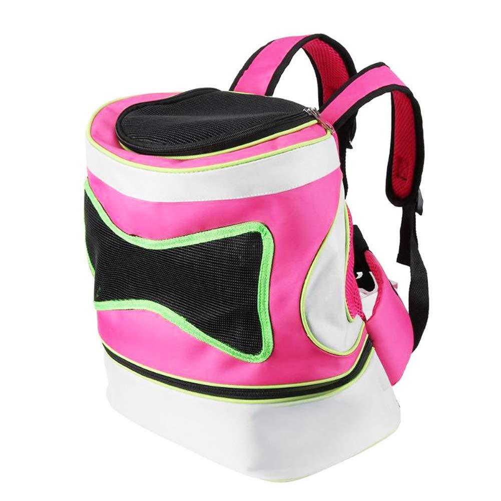 Pet Carrier Dog Backpack Pink Breathable Grid Backpack